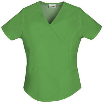 ScrubStar Women's Essentials Mock Wrap Scrub Top, Small, Bright Aloe, 90003