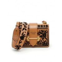 PRADA MADRAS GOAT CAHIER CARAMEL BROWN LEATHER BAG
