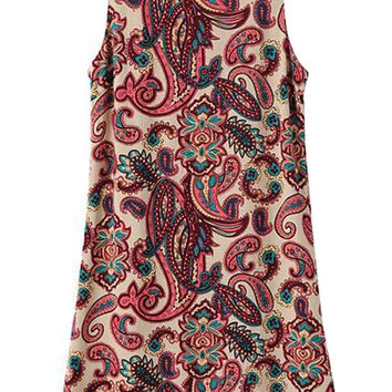 Paisley Print Sleeveless  Mini Dress