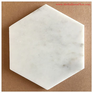 Carrara Marble Hexagon Tiles, 6""