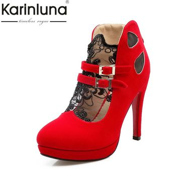 KarinLuna Big Size 32-43 Women Pumps Fashion Buckle Strap High Heels Round Toe Platform Shoes For Summer Spring Autumn