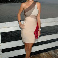 Celebboutique.com - Bestseller Dress:: 'Heidi' Beige One Shoulder Body Con Dress