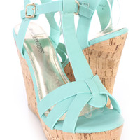 Mint T Strap Cork Platform Wedges Faux Leather