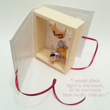 Valentine card with mouse and Moon / Handmade Valentine's Day gift / Valentine miniature gift / Handmade Valentine box / Miniature mouse