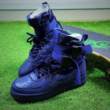 LMFUX5 Nike Special Forces Air Force 1 SF AF1 Boots All Blue Shoes Women Sneaker