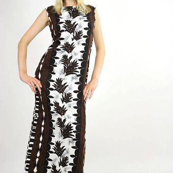 Boho  Hippie Hawaiian caftan maxi dress Ethnic tribal print M