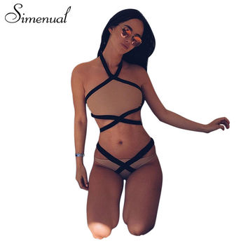 Simenual Bandage fitness underwear sets briefs for women sexy bras panty 2 piece set lingeries suits halter 2017 summer intimate