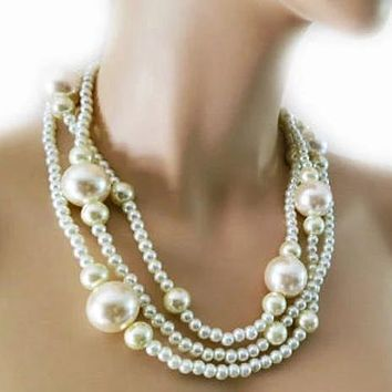 Layered Pearl Necklace with 3 Strands of Large Chunky Pearls