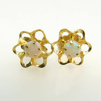 14K Yellow Gold & Opal Stud Earrings