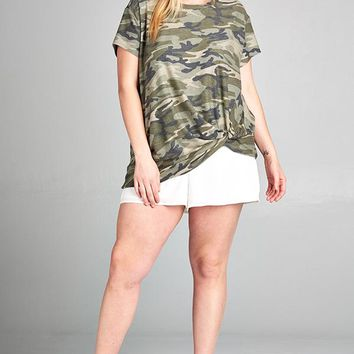 Short Sleeve Round Neck Top with Side Knot Detail - Camo
