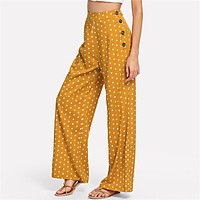 Ginger Polka Dot Side Button Wide Leg Pants Casual High Waist Button Fly Trousers Women Long Pants For