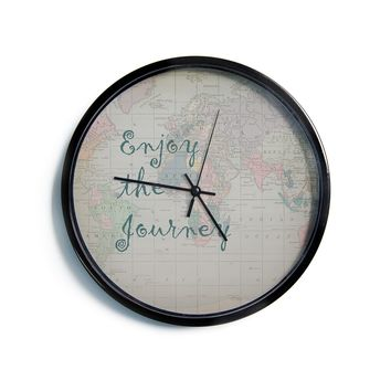 "Catherine Holcombe ""Journey"" World Map Modern Wall Clock"