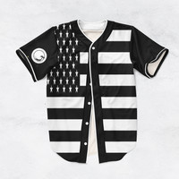 Black American Flag Baseball Jersey