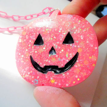 Pink Glitter Pumpkin Kawaii Fairy Kei Resin Necklace
