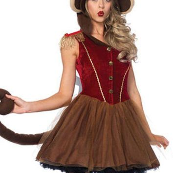 VONE5FW Wind Up Monkey,petticoat dress w/long monkey tail attached turn key in BROWN