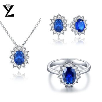 YL Classic 925 Sterling Silver Jewelry Sets Bridal Necklace and Earring Ring Set for Women Wedding Fine Jewelry