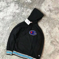 Champion style three-color matching style for hoodies Black