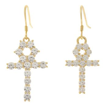 The Hanging Ankh Earrings (Clear)