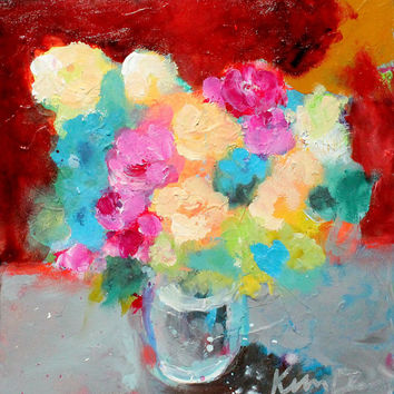 "Small Colorful Abstract Floral Painting, Vase of Flowers, Modern Still Life, Acrylics, 8x8 ""Summer Flowers in a Vase"""