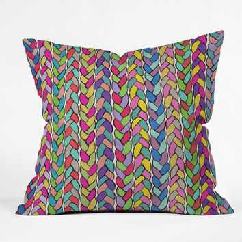Bianca Green Braids Rainbow Throw Pillow