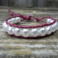 Beaded Leather Single Wrap Bracelet with Pearl White Beads on Berry Leather Stackable Bracelet