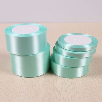 A Roll 25 Yards Tiffany Blue Satin Ribbon Wedding Party Decoration Wrapping Christmas New Year Apparel Sewing Fabric Hand DIY