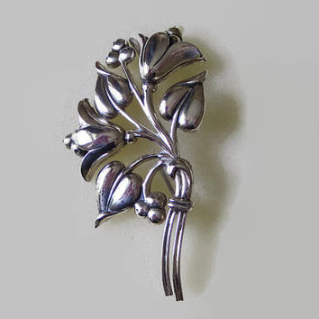 Vintage Sterlingcraft by Coro Brooch, Floral Bouquet, Sterling Silver, Flowers Leaves & Berries Pin, Retro, Romantic