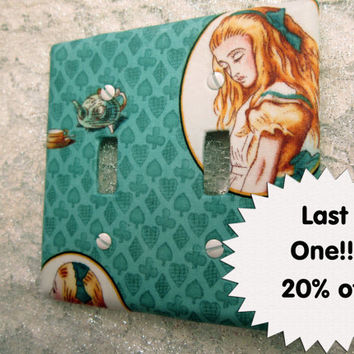 SALE Double Light Switch Cover - Light Switch Plate in Tea with Alice in Wonderland