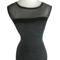 1950s 1960s Black BOMBSHELL Vintage Wiggle Dress W 28
