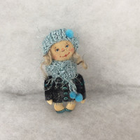 Art doll brooch Primitive doll brooch OOAK doll brooch Textile doll brooch