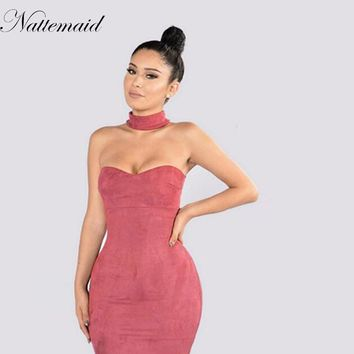 Women Red Suede leather Dress Autumn Winter sexy sheath Halter neck Above kneed Slim dresses