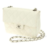 CHANEL Chain Shoulder Bag Caviar White Matelasse A01115 France Authentic 4404835