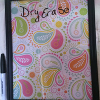 Light Colored Fun Paisley Dry Erase Board and Pen