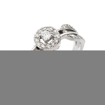 .925 Sterling Silver Rhodium Plated Looped Band Pave Small Center Cubic Zirconia Ring: Size:5