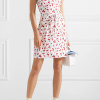HVN - Lily printed silk crepe de chine mini dress