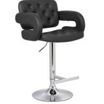 Contemporary Tufted Adjustable Swivel Arm Bar Stool with Cushion