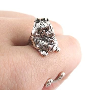 3D Realistic Pomeranian Puppy Dog Shaped Animal Wrap Ring in Silver | US Sizes 4 to 8