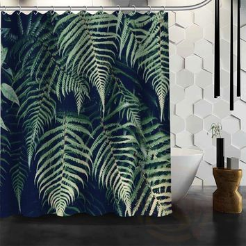 ShunQian Best Nice Custom Jungle Foliage Shower Curtain Bath Curtain Waterproof Fabric For Bathroom MORE SIZE WJY#44