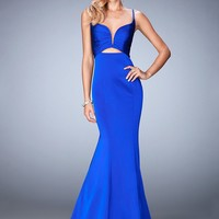 La Femme 22747 Spectacular Cut Out Deep Plunging Fit & Flare