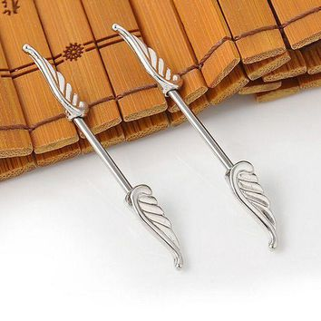 ac PEAPO2Q Alloy Angel Wings Shields Ring Feather Bar Barbell Fashion Body Piercing Jewelry 1Pc