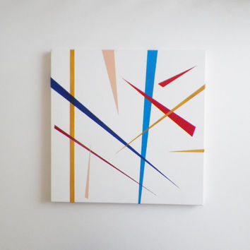 modern abstract painting, Acrylic minimal painting on canvas, blue red art, colorful original painting, geometric lines art, wall hanging