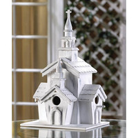 Little White Country Church Chapel Collectors Village Eucalyptus Wood Birdhouse