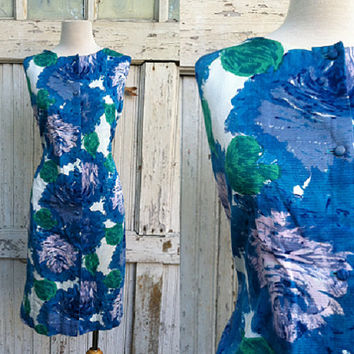 1960s Hawaiian Dress / Tori Richard Honolulu / Vintage Blue Floral Sheath Dress