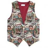 Get Your Kicks on Route 66 - Vintage Road Travel Theme Ugly Vest Women's Size Small (S)/XS DIY Handmade $12 - The Ugly Sweater Shop