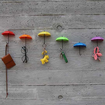 3Pcs Colorful Umbrella Wall Hook Key Hair Pin Holder Organizer Decorative New Worldwide Store