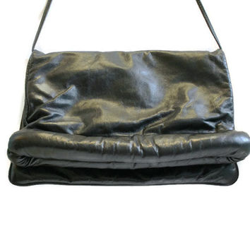 1980's Black Leather Purse, Black Leather Shoulder Bag, Retro Black Leather Purse, 1980's Purse, Marvella Tannenbaum Purse