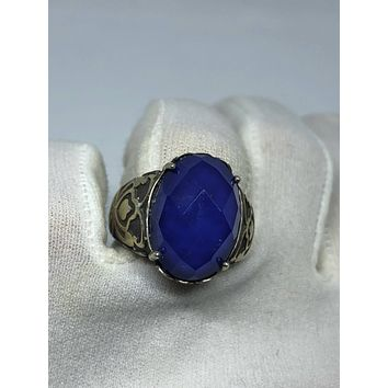 Vintage Handmade deep blue antique glass Matte setting 925 Sterling Silver gothic Ring