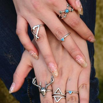 6 Pcs/ Set Bohemian Punk Ring Set Tibet Silver Gypsy Boho Elephant Snake Turquoise Natural Stone  Ring