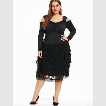 Spring Plus Size 5XL Cold Shoulder Layered Gothic Dress Women Gothic Autumn Long Sleeves Black A-Line Dress Female