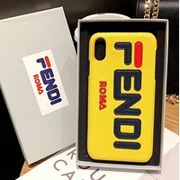 FENDI Trending Women Men Stylish iPhone Phone Cover Case For iphone 6 6s 6plus 6s-plus 7 7plus 8 8plus iPhone X XR XS XS MAX Yellow